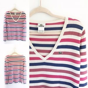 Lacoste Striped V-neck Long Sleeve Sweater